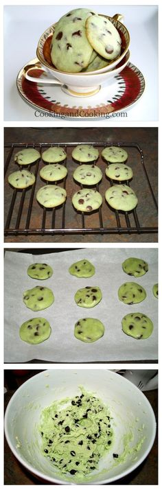 Mint Chocolate Chip Cookies Recipe INGREDIENTS 1 1/2 cups all-purpose flour 2/3 cup sugar 1 egg 1/2 cup (1 stick) unsalted butter, softened (let stand at room temperature until softens) 1/2 teaspoon vanilla extract 3/4 teaspoon mint extract 1/2 teaspoon baking powder 3/4 cup semi sweet chocolate chips 10-12 drops green food color (optional) pinch salt