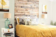40 DIY Wood Projects. I love the wood all the way up the wall as a headboard.