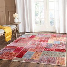 "Safavieh Valencia Multicolor Patchwork Area Rug   חייבים לראות בעיניים... בארץ שטיחי הטלאים האורגינליים הם אוסף של שטיחים שחוקים. וה""חיקויים"" הם היחידים שנעים לדרוך עליהם. זה נראה ממשפחת החיקויים, מאד צבעוני.... בגודל שאני בודקת, קצת יותר מ-1700 ש""ח. עדיין מעבר לתקציב."