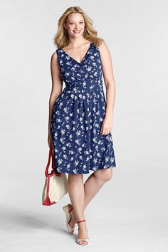 Women's Plus Size Sleeveless Cotton Modal Pattern Fit and Flare Dress