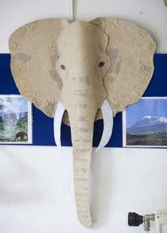 Elephant head made in the children's Applied Art Workshops at . Elephant head made in the children's Applied Art Workshops at . Safari Party, Safari Theme, Jungle Safari, Jungle Animals, Wild Animals, Jungle Party, Vbs Crafts, Paper Crafts, Diy Paper