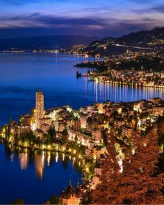 Night scene in Montreux, Switzerland.