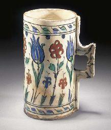 An Iznik cylindrical tankard 17th Century: