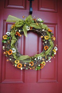 Flirty Fall Flower Wreath  Autum wreath  Fall by YourDecoratedDoor, $40.00