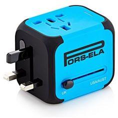 International Travel Power Adapter w/ 2.4A Dual USB Charger & Worldwide AC Plugs #PORSELA