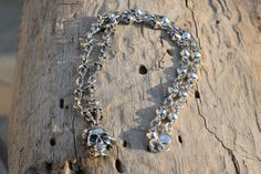 Mens .925 Sterling Silver Skulls chain with skull pendant with snake pendant handmade. by ARTESANOSMEX on Etsy