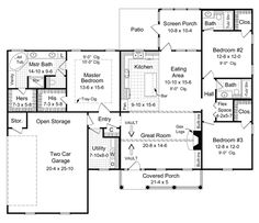First Floor Plan of Country   Ranch   Traditional   House Plan 59068
