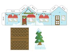 Make cute house ornaments using recycled christmas cards! Print out the templates and have fun! Christmas Gift Box, Noel Christmas, Christmas Paper, Christmas Themes, Christmas Crafts, Christmas Houses, Christmas Cards To Make, Holiday Cards, Navidad Diy