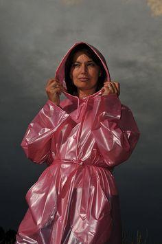 Pink Raincoat, Plastic Raincoat, Plastic Pants, Pvc U Like, Imper Pvc, Rain Bonnet, Rain Suit, Bronze, Rain Wear