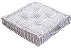 Homescapes - Pin Stripe Grey - 100% Cotton - Large Floor Cushion - Light Grey and White - 50 x 50 x 10 cm Square - Indoor - Garden - Dining Chair Booster - Seat Pad Cushion: Amazon.co.uk: Kitchen & Home