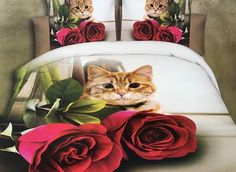 Cute Cat and Red Rose Print Polyester Duvet Cover