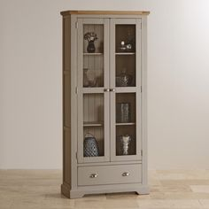 St Ives Natural Oak and Light Grey Painted Display Cabinet - Display Cabinets - Shop by Product
