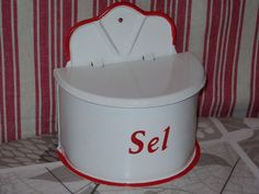 VINTAGE FRENCH Enamelware SALT BOX - Comptoir de Famille - RED  & WHITE Salt Box, French Vintage, Vintage Antiques, Red And White, Ebay