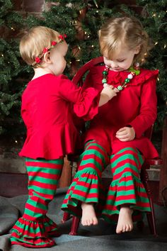 Red & Green Holiday Stripe Pants - These will not be restocked once sold out!