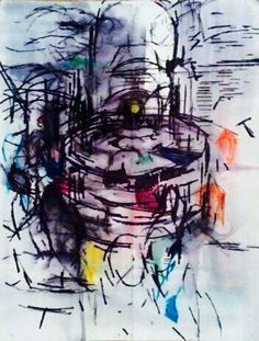 'The Fountain.' Mixed Media Paper. A4. #RosannaJacksonWright #Art #Drawing #Fountain #Water #Abstract #Figurative #York #England #NYC #USA #Genoa #Italy #Mexico