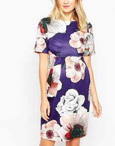 Image 3 of ASOS Maternity Wiggle Dress In Textured Rose Print