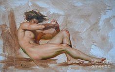Hongtao     Huang -  original oil painting gay man art-male nude -015