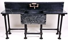 early 1920's industrial research lab soapstone apron sink w/ routed drainboards. EXAMPLE: LEGS FOR CURRENT SOAPSTONE SINK.