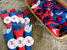 Baseball party. Clever way to wrap utensils