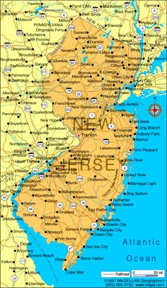 MAP OF NEW JERSEY NJ County Map New jersey state map of nj