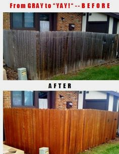 Top 10 Tips for Wood Fences: How to Make Your Gray Fence Look Great for Years.power wash gray wood to make it look new again and then use Flood sealer with UV protection.clear if you want the natural wood look. Backyard Projects, Outdoor Projects, Home Projects, Backyard Ideas, Grey Fences, Wood Fences, Fencing, Diy Garden, Home And Garden