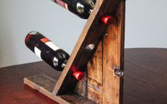 Table top - Reclaimed Pallet Wood Furniture - Wine Rack by FasProjects on Etsy Reclaimed Wood Table Top, Reclaimed Wood Projects, Wooden Pallet Crafts, Reclaimed Lumber, Wooden Projects, Pallet Projects, Diy Wood, Wood Pallet Furniture, Wood Pallets