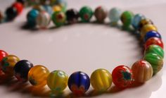 Millefiori glass round beads multicolored 10mm by designjuncture, $2.25
