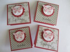 4 Butterfly 3x3 Gift Card Handmade Thank You by HawaiiPaperParty, $5.00