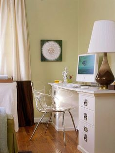 Your Apartment Living in a small space:  Best Use of Awkward Corners: If your living room must double as a home office, don't let the work space overpower the room. Get rid of your shaky college desk and try this instead:  -- Top spacious file cabinets with an inexpensive sheet of melamine for lots of storage space and minimal impact on the rest of the room.  -- Help the area blend with the rest of the room by adding accessories, such as a thrift-store lamp with a new shade.
