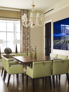 Dining Room Mustard Chairs Design, Pictures, Remodel, Decor and Ideas - love the black door in the background!