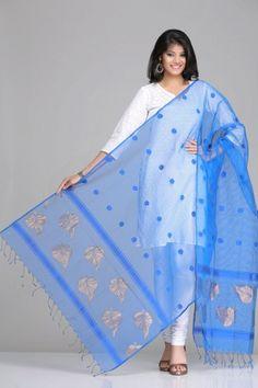 Striking Blue Banarasi Kora Net Dupatta With Blue Polka Dots & Antique Gold Zari Leaf Motifs