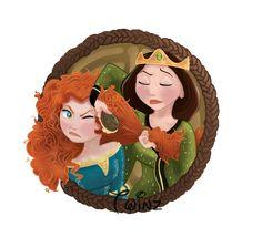 - Elinor And Merida by Pussycat-Puppy on deviantART Arte Disney, Disney Fan Art, Disney Love, Disney Stuff, Disney And Dreamworks, Disney Pixar, Disney Characters, Disney Princesses, Brave Princess