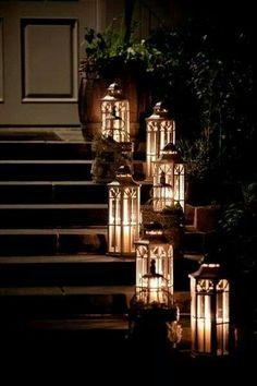 Grand entrance with Luminara flame effect pillars in lanterns. www.bethlehemlights.com