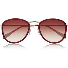 Oliver Peoples J Gold round-frame acetate and metal sunglasses ($137) ❤ liked on Polyvore featuring accessories, eyewear, sunglasses, plum, round metal sunglasses, metal glasses, metal sunglasses, round frame glasses and uv protection glasses