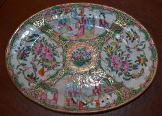 Antique Chinese Famille Rose Medallion Enameled Oval Plate, 19 Century, EX!