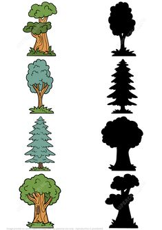 Find the Correct Shadow of Trees Puzzle Preschool Activity Books, Nature Activities, Toddler Learning Activities, Autumn Activities, Activities For Kids, Preschool Ideas, Homeschool Worksheets, Worksheets For Kids, Autumn Nature