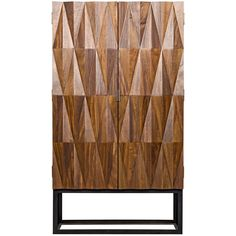 Diamond-shaped carvings adorn the facade of Noir's Muna hutch, creating a three-dimensional design that adds heightened drama to the clean-lined, contemporary form. Poised on an open black frame, this furnishing exudes earthy glamour in a warm walnut finish. Two doors open to reveal a roomy interior. 42in W x 22inD x 75in H; Walnut, metal; Dark walnut finish; One fixed shelf and two removable shelves