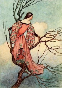 "The Iron-Stove - ""At evening-tide she climbed up into a little tree, and purposed spending the night there, for fear of the wild beasts"", p. 163, ill. 17, Warwick Goble, The Fairy Book. The Best Popular Fairy Stories Selected and Rendered Anew, by Dinah Craik, London, 1913"