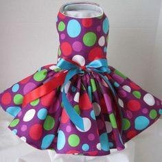 Purple Large Polka Dot Dog Dress
