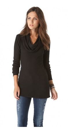 THERMAL LONG SLEEVE COWL NECK - $20.95  A soft cowl neckline looks elegant on a thermal Splendid top. Ribbed edges.