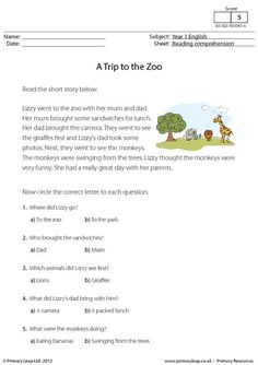 PrimaryLeap.co.uk - Reading comprehension - A Trip to the Zoo Worksheet
