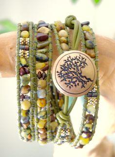 KATRINA 4 Wrap Olive Mejandi Greek by BraceletsofBlueRidge