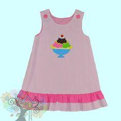 Reversible dress with ice cream sundae applique (reverse side has turtle applique) Visit www.hidenseekboutique.com to order