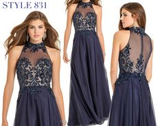 Camille La Vie Two Tone Lace Long Evening Dress for Homecoming, Prom, Weddings and all stylish fashion parties or events