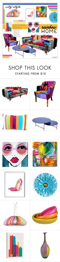 """City Style Rainbow Home"" by mcheffer ❤ liked on Polyvore featuring interior, interiors, interior design, home, home decor, interior decorating, LA CHANCE, Courtside Market, Christian Louboutin and Axo Light"
