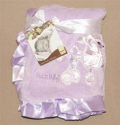 Silver One Baby Light Purple Posh Baby Blanket Pink Poodle Satin Ruffle Trim NWT #SilverOneBaby