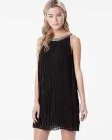 Pleated shift dress with jeweled neck, RW & Co, Kingsway Mall
