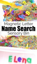 Magnetic Letter Name Search Sensory Bin! A fun hands-on way to work on letter recognition and letter sounds with preschool and kindergarten kids! Kindergarten Sensory, Preschool Learning, Early Learning, Learning Activities, Preschool Classroom, Educational Activities, Teaching Ideas, Classroom Ideas, Preschool Names