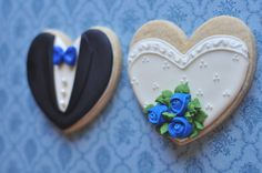 Bride and Groom Wedding Favor Cookies with Rose by MarinoldCakes, $39.00