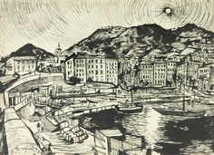 John Minton illustration of Ajaccio Harbour Corsica from 'Time Was Away. John Minton, Royal College Of Art, Watercolor And Ink, Vintage Images, Street Art, Illustration Art, Sketches, Artwork, Corsica